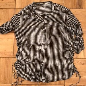 Gingham Button Down with Lace Up Sides